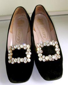 Black velvet pilgrim shoes 1960's
