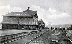 C.P.R. Station and rail yard in Cranbrook BC, circa 1910.