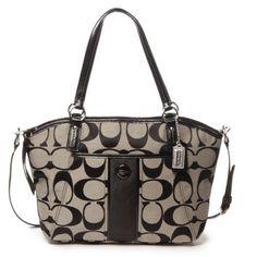 Coach Signature Stripe Pocket Tote Black  amp  White Handbag (886382662674)  Black and white 97ff0ad5ada19