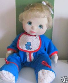 1985 Mattel My Child Doll Blond Aqua Blue Eyes Original PJ Outfit & Bib Green Heart