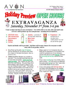 Trying to promote my Avon Holiday Preview Open House on Saturday, Nov. 3rd from 3-6 p.m.  If you are in the Houston area, feel free to stop by.    EVERYONE IS INVITED, Guys and girls both. I will have something for everyone. Bring plenty of $5's for your to win a Raffle Baskets.  Door prizes every 30 minutes. Holiday items, preboxed and ready to give.   It's located at the Avon Bellaire Branch office at 5427 Bellaire, Suite A; Bellaire, TX 77401      Thanks, Tina Davis, Houston…