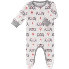 Pyjama coton bio Eléphant rose (0-3 mois) - Fresk