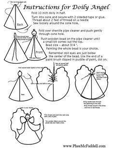 Doily Angel Instructions Black and White www.pheemcfaddell.com