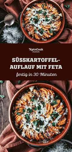 Simple and vegan Recipe: Sweet Potato Casserole with Feta. For our delicious vegetarian Main Dish you only need 5 Ingredients. Quick Recipes, Clean Recipes, Veggie Recipes, Whole Food Recipes, Vegetarian Recipes, Healthy Recipes, Vegetarian Main Dishes, Sweet Potato Casserole, Vegan Dinners