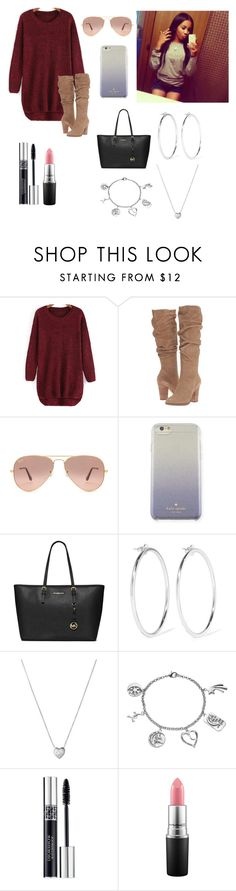 """""""ootd -Naveah"""" by itsyagurl-anxns ❤ liked on Polyvore featuring Steve Madden, Ray-Ban, Kate Spade, MICHAEL Michael Kors, Jennifer Fisher, Links of London, Love This Life, Christian Dior and MAC Cosmetics"""