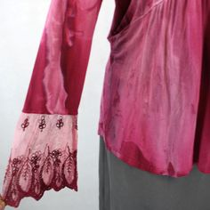 NEW NWT One World Woman Plus Size Pink Studded Lace Cuff Peasant Tunic Blouse 2X | eBay