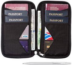 Amazon.com: Travel Wallet & Family Passport Holder w/RFID Blocking- Document Organizer Case …: Clothing Travel Packing Checklist, Union Européenne, Big Purses, Document Holder, Passport Wallet, Travel Organization, Pocket Wallet, Staying Organized, Travel Gifts