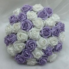 Lilac and White foam Bridal bouquet in stunning foam roses that will last forever.See our facebook page flowering dreams for more