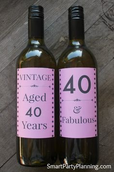 Fun and flirty pink wine bottle labels for a 40th birthday. Awesome for gift giving or party styling.
