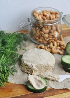 A very easy recipe for raw vegan cashew nut cheese, using a food processor and probiotics for that authentic tangy cheese flavor.