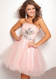 A-line Strapless Ruffled Rhinstone Embellished Short/Mini Tulle ...