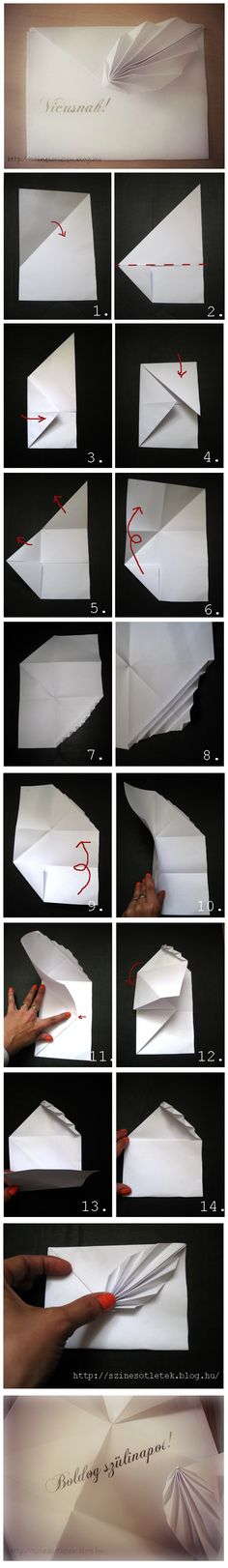 Beautiful origami card.  Site is in Hungarian, but there are also clear photos of the process if the translation isn't adequate.