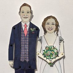 Close up - ‪Here is a portrait of a wedding couple making its way to Birmingham. Wedding Couples, Wedding Gifts, Deep Box Frames, Sharpie Pens, Pen And Watercolor, Portrait Illustration, Birmingham, Family Portraits, Paper Dolls