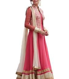 Buy Pink faux georgette embroidered semi stitched salwar with dupatta party-wear-salwar-kameez online