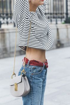 Denim | Levi's, using a scarf as a belt, Breton stripped shirt, Celine bag | Source: Collage Vintage, via Time For Fashion