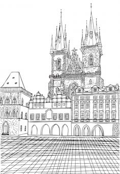 Munich Town Hall is one of the most recognizable landmarks in the city. Enjoy this coloring page while you dream about your trip to Germany! Free Kids Coloring Pages, Colouring Pages, Coloring Books, Munich, City Sketch, Old Town Square, Travel Drawing, City Illustration, Thinking Day