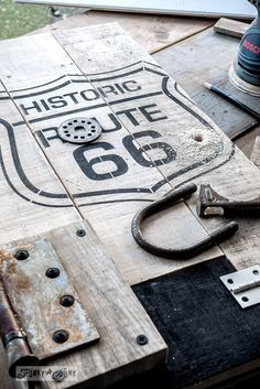 Attaching a junk handle / Historic Route 66 pallet wood storage cabinet / Funky Junk's Old Sign Stencils collection  / FunkyJunkInteriors.net