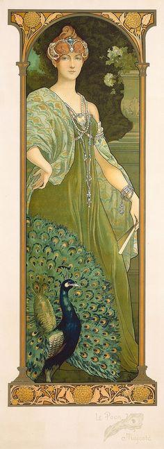 (1874-1953)The Majestic Peacock by Elisabeth Sonrel