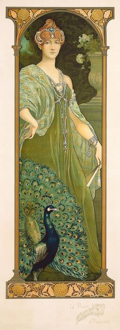 (1874-1953)The Majestic Peacock by Elisabeth Sonrel