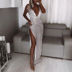 Sexy Sequin Sleeveless Maxi Evening Dress Sexy Maxi Dress, Sexy Dresses, Beautiful Dresses, Formal Dresses, Sheath Dress, Elegant Dresses, Amazing Dresses, Prom Dress, Dress Casual