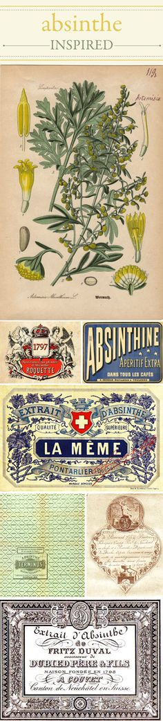 Vintage Absinthe labels  http://www.wileyvalentine.com/blog/2010/08/25/absinthe-inspired-the-green-fairy/#