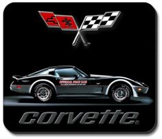 C3 1978 Corvette Indy 500 Pace Car Mouse Pad featuring a non-slip rubber backing that will work with any mouse type, optical or ball. Image is a clear, highly detailed representation. Spruce up your w
