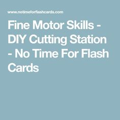 Fine Motor Skills - DIY Cutting Station - No Time For Flash Cards