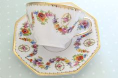 Vintage Schumann, Germany, Empress Tea Cup and Saucer, Dresden Flowers Pattern, Replacement China, Tea Party - c. 1945 - 1949