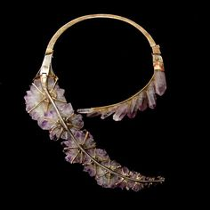 Jean Vendome crystal, amethyst, gold necklace for sale