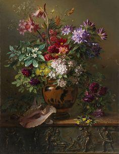 Stilleven met bloemen in een Griekse vaas: allegorie op de Lente, Georgius Jacobus Johannes van Os, 1817