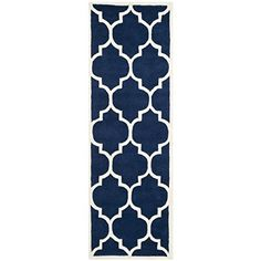 Safavieh Chatham Collection CHT733C Handmade Dark Blue and Ivory Wool Runner 2 feet 3 inches by 11 feet 23 x 11 ** Read more home decor at the image link.