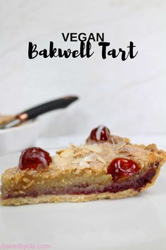 Shortcrust pastry filled with cherry conserve and eggless frangipane! Vegan Bakewell Tart, Cherry Bakewell Tart, Vegan Dessert Recipes, Tart Recipes, Sweet Recipes, Vegan Tarts, Vegan Pie, Vegan Food, Vegan Pastries