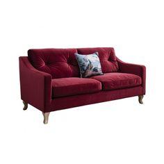 Elton Velvet Sofa Berry (595 KWD) ❤ liked on Polyvore featuring home, furniture, sofas, elodie, velvet sofa, red velvet couch, red furniture and velvet furniture