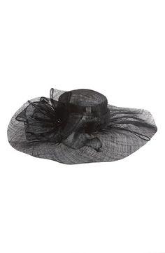 Modern version of an Edwardian hat or Titanic hat. Womens Nordstrom Sinamay Hat with Flower - Black $45.56 AT vintagedancer.com