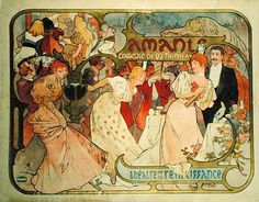 Alphonse Mucha - Poster advertising ''Amants'' a comedy at the Theatre de la…