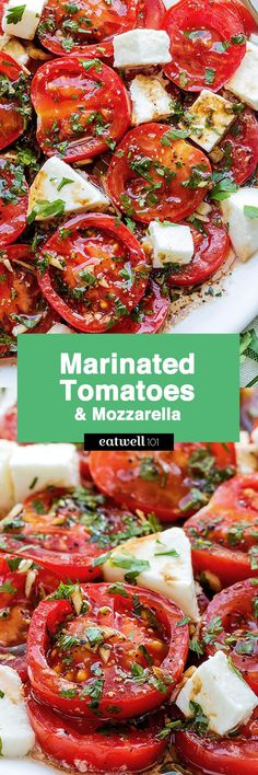 A perfect hors d'oeuvre full of fresh summer flavors! - by Marinated Tomatoes recipe – A perfect hors d'oeuvre full of fresh summer flavors! - by Marinated Tomatoes recipe – Side Dish Recipes, Vegetable Recipes, Vegetarian Recipes, Healthy Recipes, Cooking Recipes, Appetizer Recipes, Salad Recipes, Dinner Recipes, Detox Recipes