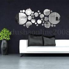 30x 3D Cercle Sticker Autocollant Miroir Adhésif DIY Art Decor Mural Mur Chambre