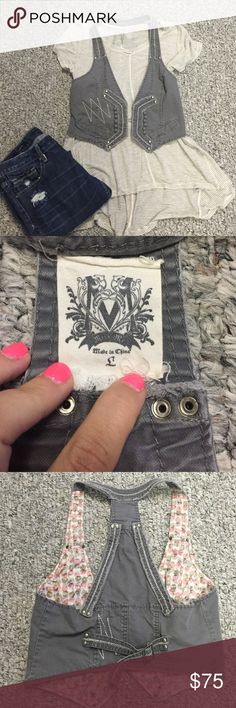 Miss me denim vest Miss me denim vest. Size large. Grey with white thread details. Purchased at buckle. Missing top clasp pictures in last photo. Other then that perfect condition. Gently used. So cute! Clean smokefree home Miss Me Jackets & Coats Vests