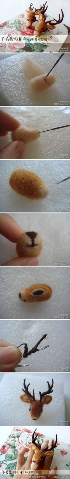 How to needle felt a deer head - needle felting pictorial tutorial. Needle felting a taxidermy deer. diy