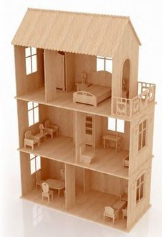 Queen Anne Dollhouse Kit by Real Good Toys--This was alway Popsicle House, Popsicle Stick Houses, Popsicle Stick Crafts, Craft Stick Crafts, Diy Crafts, Wooden Dollhouse, Diy Dollhouse, Barbie Furniture, Dollhouse Furniture