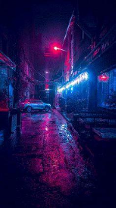 Music Wallpaper For Mobile Ideas Cyberpunk City, Ville Cyberpunk, Cyberpunk Aesthetic, Neon Aesthetic, Night Aesthetic, Aesthetic Anime, Violet Aesthetic, Cyberpunk 2077, Neon Wallpaper