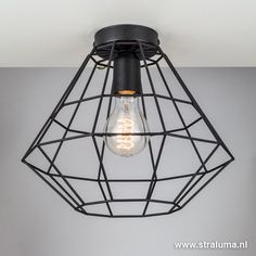 Draad plafondlamp zwart hal, wc, keuken - www.straluma.nl