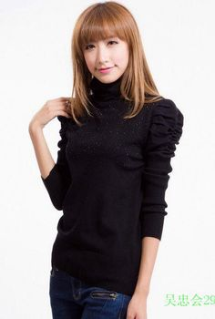 Elegance Puff Sleeve Knitting Pullover Sweater - BuyTrends.com