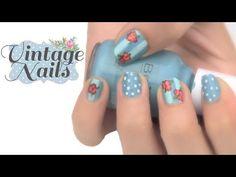 Pintado de uñas  con flores Vintage