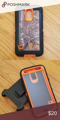 Galaxy s5 defender style Phone case Camo and orange heavy duty 3 in 1 phone case for Samsung Galaxy s5. Protect your phone against scratches, dirt and shock damage! Comes with built in screen protector and belt clip holster. Accessories Phone Cases