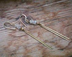 Moonstone minimal earrings // Moonstone jewelry // raw Moonstone // brass earrings