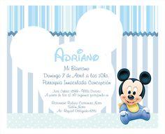 Invitación Bautismo Baby Mickey