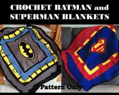 Crochet Batman Blanket Pattern Only   Batman comes to life in this blanket. As each row comes along you can see the excitement in their eyes. This blanket is great to give as a gift or make for yourself. The Pink/Purple photographs can be found in this listing: https://www.etsy.com/listing/218875086/crochet-batman-blanket-pink-and-purple?ref=shop_home_active_9  Please note this is a download of the PATTERN ONLY and you will not be receiving the finished prod...