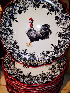 Rooster Plates, Rooster Kitchen Decor, Rooster Decor, Red Rooster, Kitchen Rug, Plate Wall Decor, Plates On Wall, Hanging Plates, French Country Style