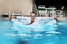 "#SeniorPhoto for a St. Francis de Sales High School swimmer in the pool he where he works as a life guard.  Notice his choice of ""swim suit!""  We encourage all of our #Seniors to be themselves, and he definitely was!  #GoSFSKnights #ItsKnightTime  #Swimwear #SeniorPics  #Toledo #Photography   www.kurtnphoto.com"